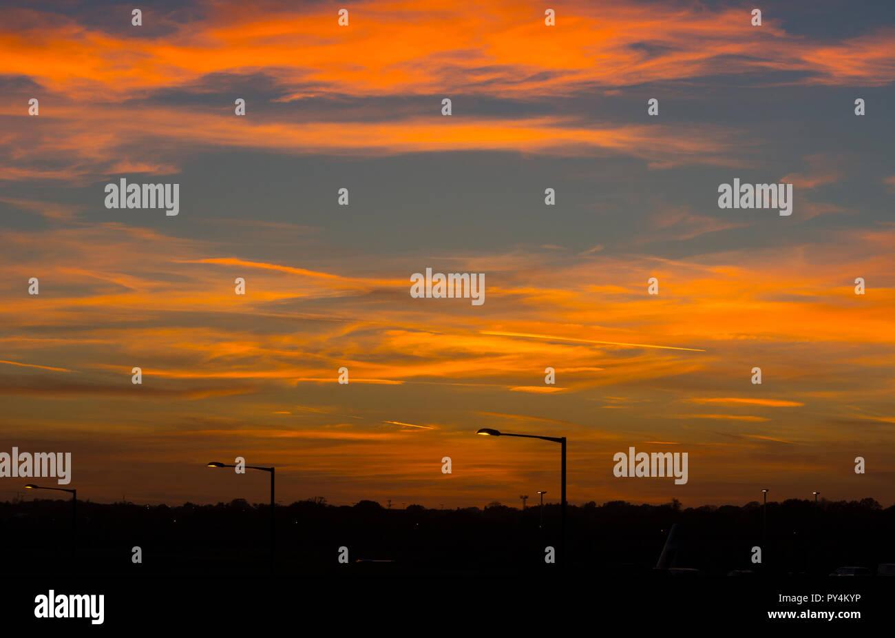 A sky at sunset, UK Stock Photo