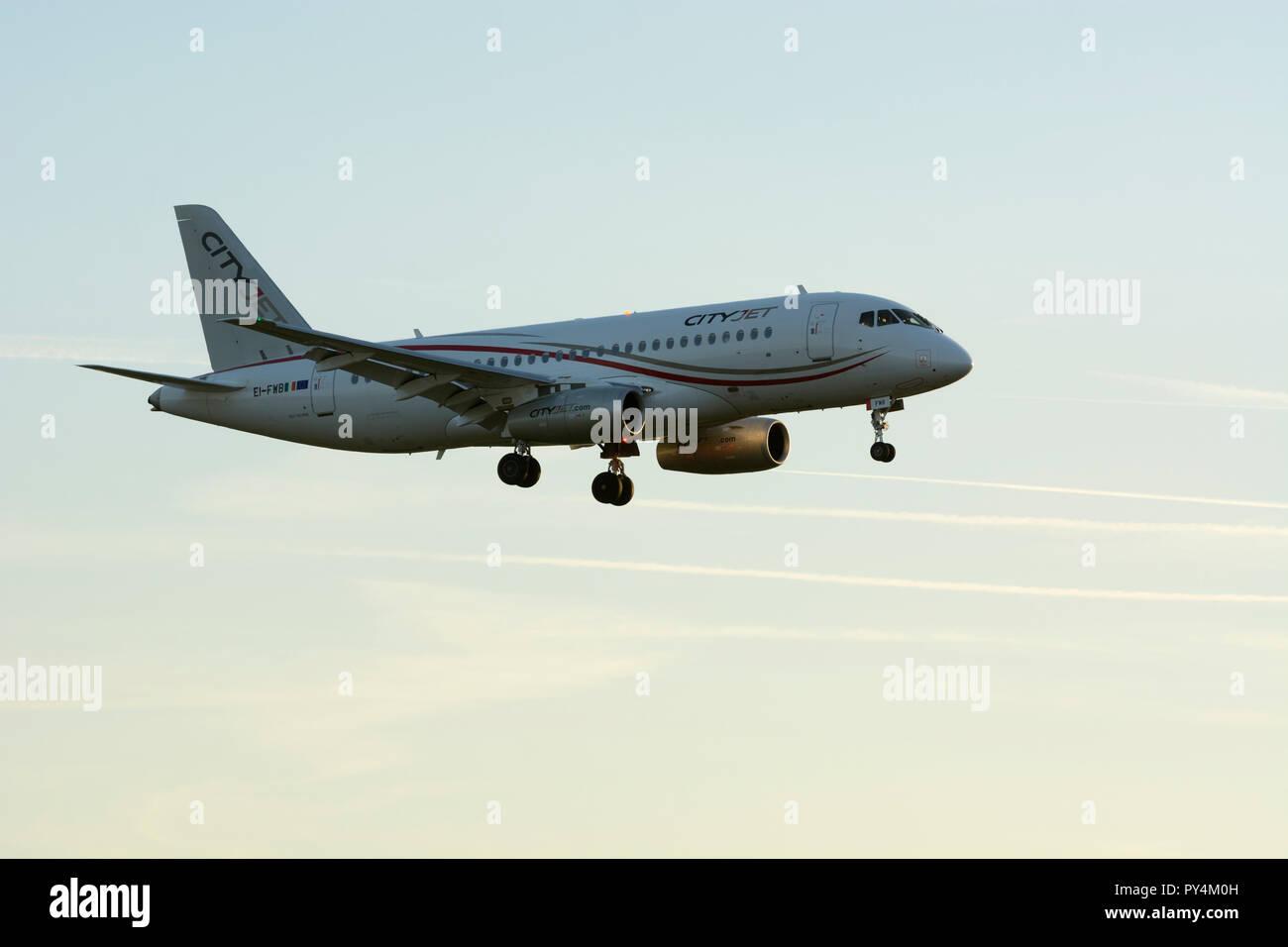 Cityjet Sukhoi Superjet 100-95B landing at Birmingham Airport, UK (EI-FWB) - Stock Image