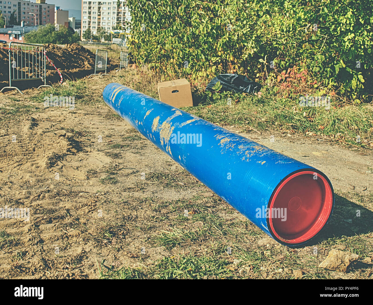 Plastic pipes for drinking water.  Repairing of water supply interruption. Complete exchange of water supply transit. - Stock Image