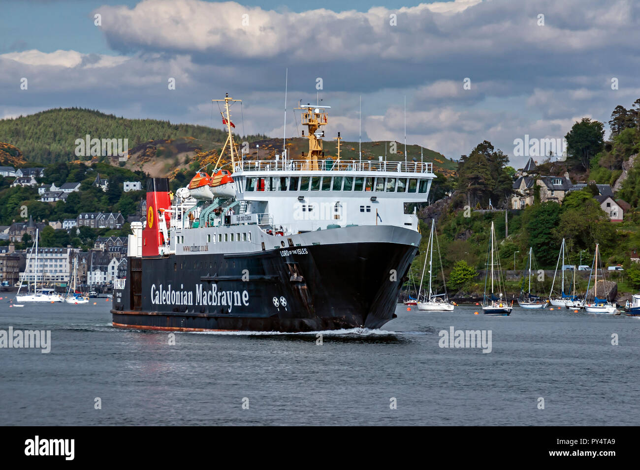 Caledoniann Macbrayne car and passenger vessel Lord of the Isles passing down Sound of Kerrera from Oban Argyll & Bute Scotland UK - Stock Image