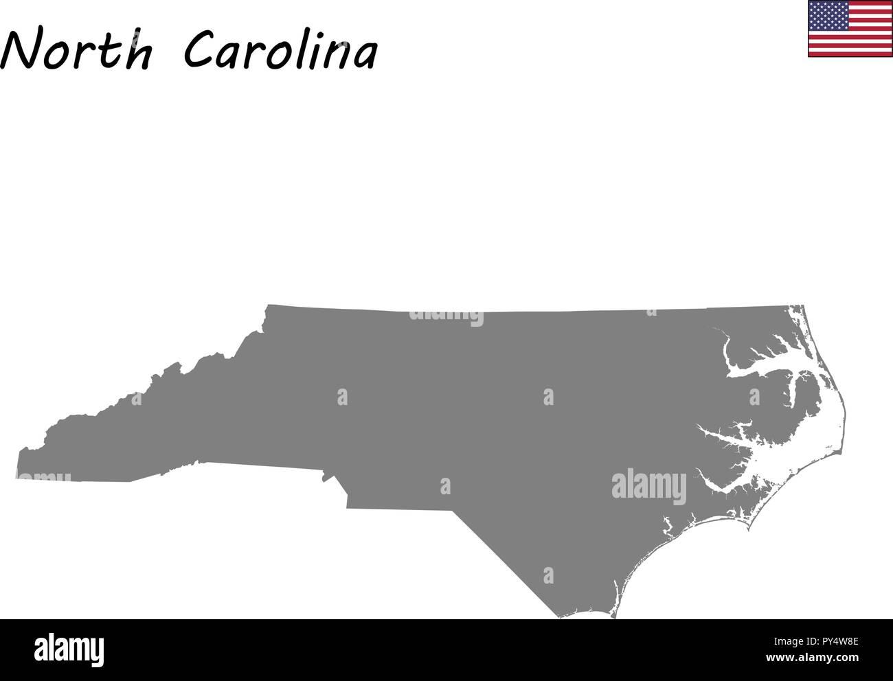 United States Map North Carolina.High Quality Map State Of United States North Carolina Stock Vector