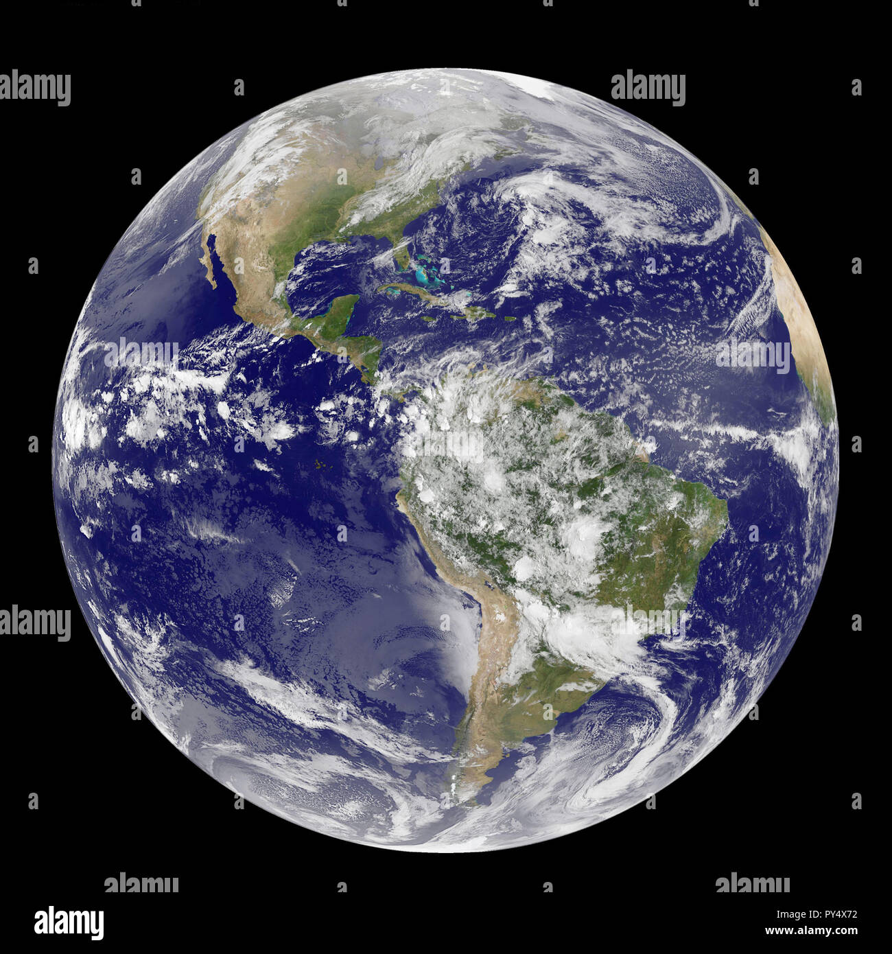 Satellite View of the Americas on Earth Day.jpg - PY4X72  - Stock Image