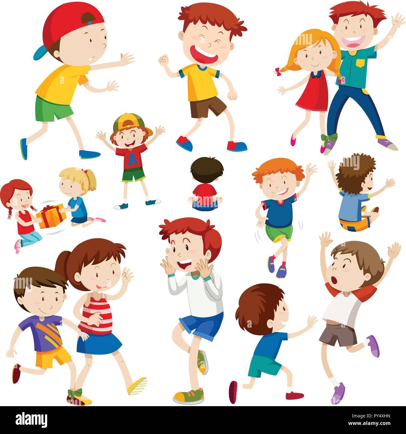 Set of happy children illustration - Stock Vector