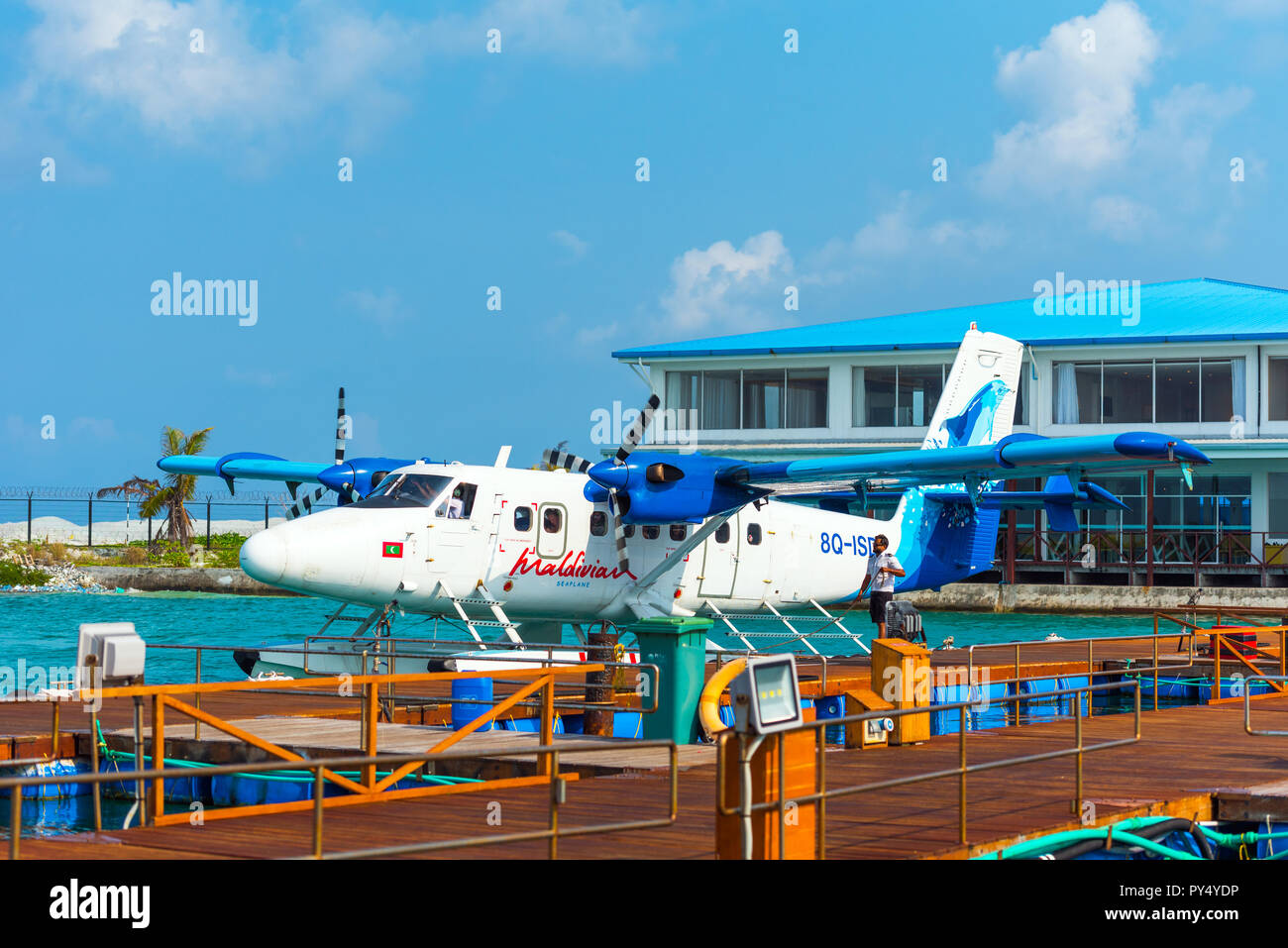 HAWAII, USA - FEBRUARY 18, 2018: Seaplane at the pier. Copy space for text - Stock Image