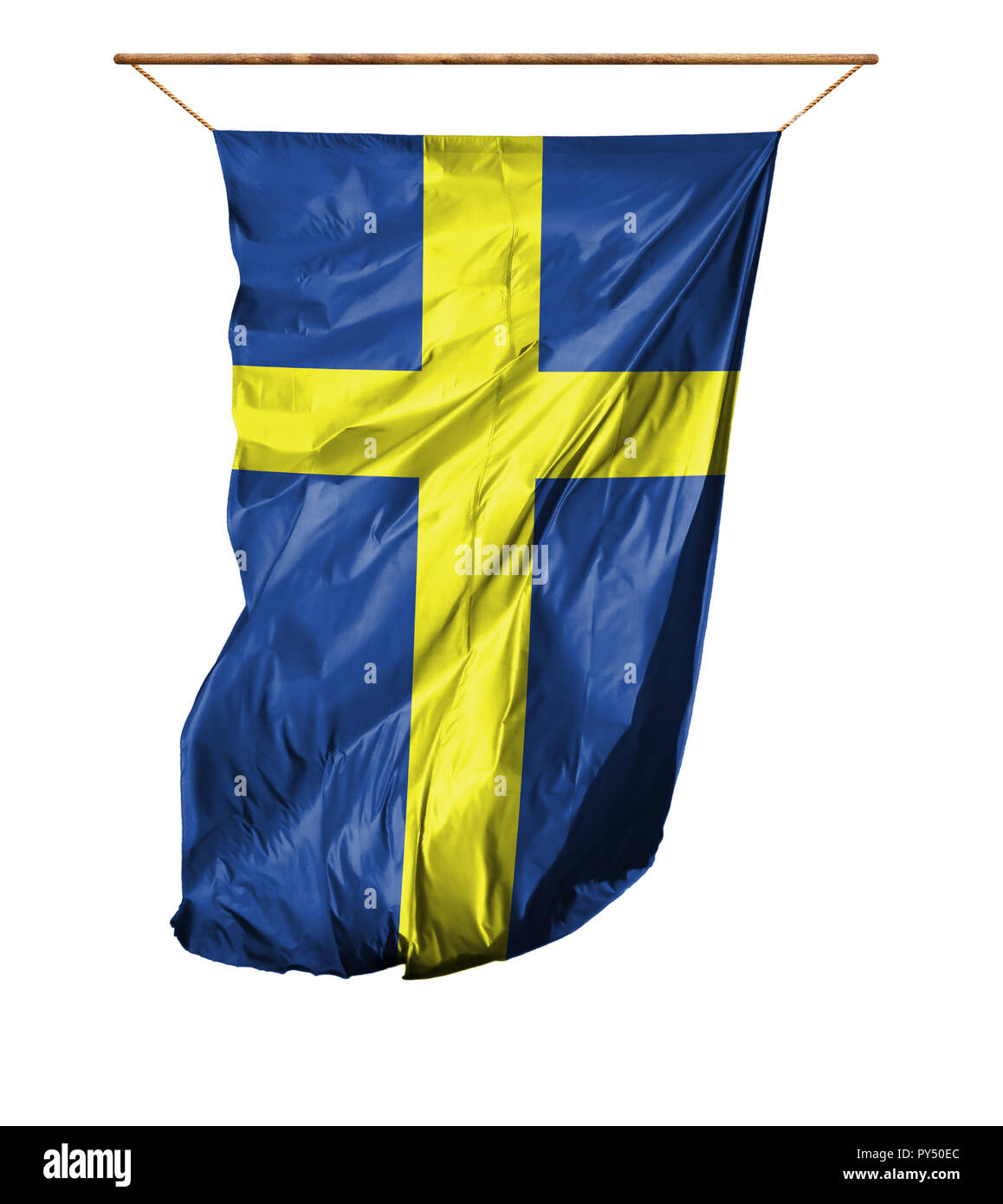 Flag of Sweden. Vertical flag.Isolated on a white background. - Stock Image