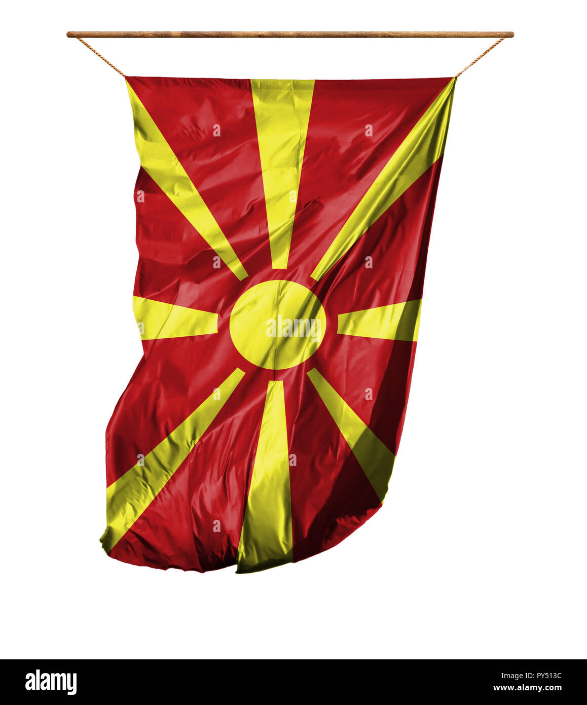 Flag of Macedonia. Vertical flag.Isolated on a white background. - Stock Image