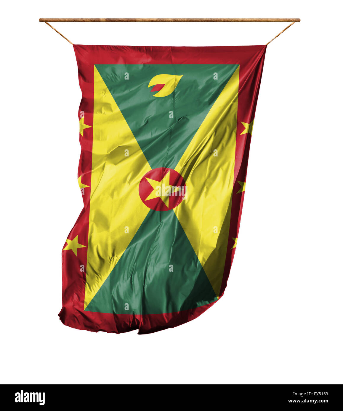 Flag of Grenada. Vertical flag.Isolated on a white background. Stock Photo