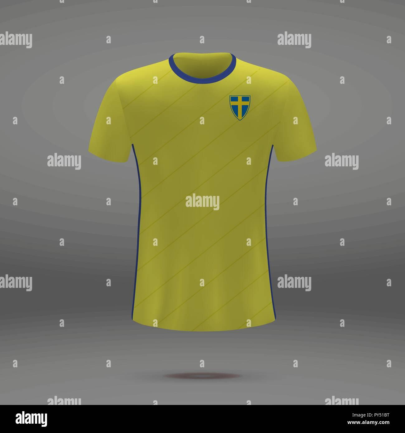 Football Kit Of Sweden 2018 T Shirt Template For Soccer Jersey