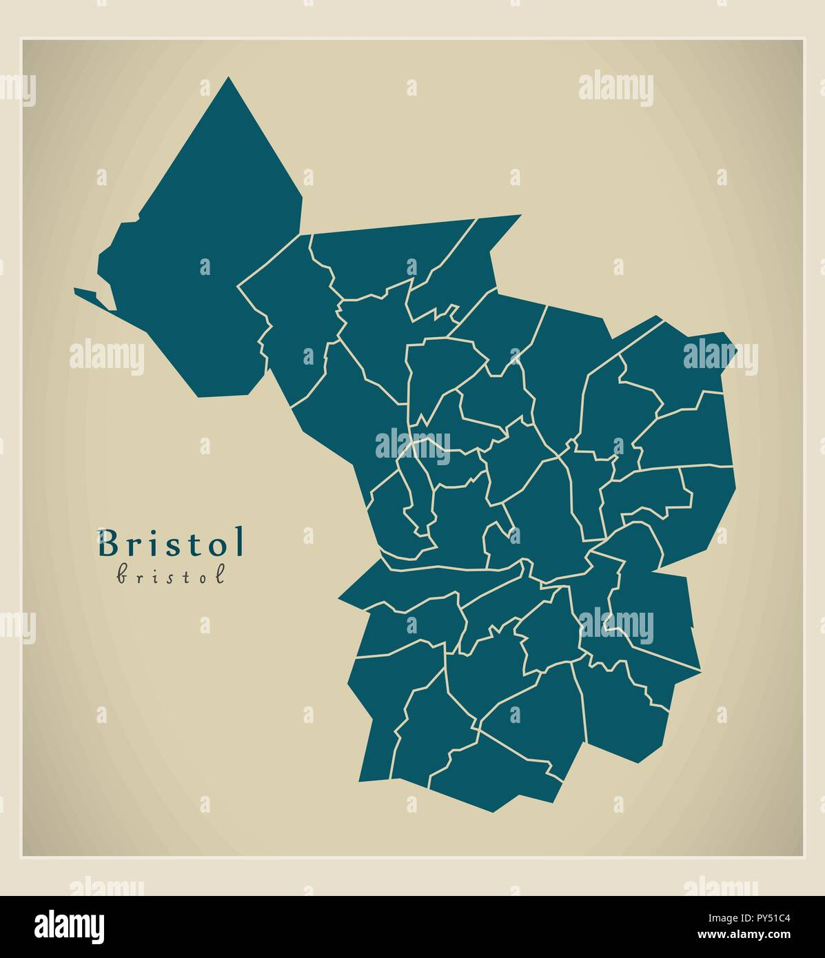 City Map Of England.Modern City Map Bristol City Of England With Wards Uk Stock Vector
