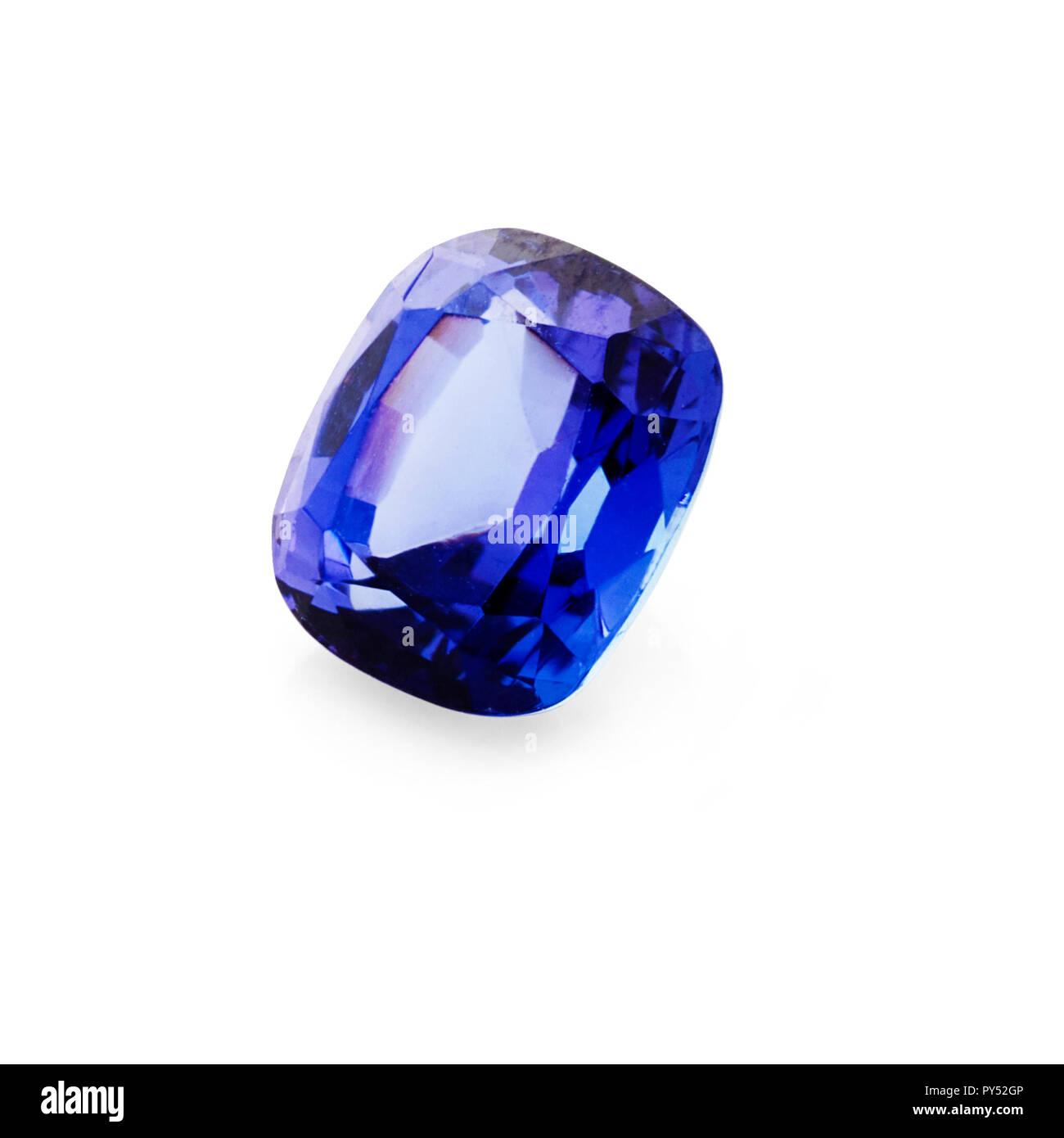 1.40 carat, tanzanite cushion gemstone on a white background - Stock Image