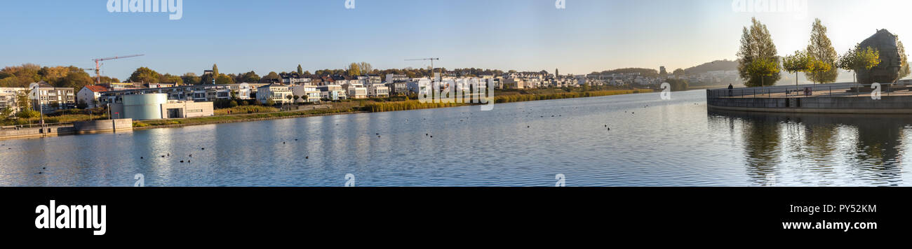 Dortmund, Germany, October 20., 2018: View of the north side of Lake Phoenix in Dortmund Stock Photo