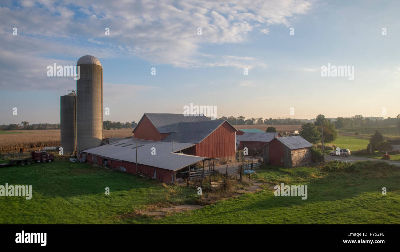 A farm in western Marland, seen from Amtrak's Capitol Limited train to Chicago, October 8, 2018 - Stock Image