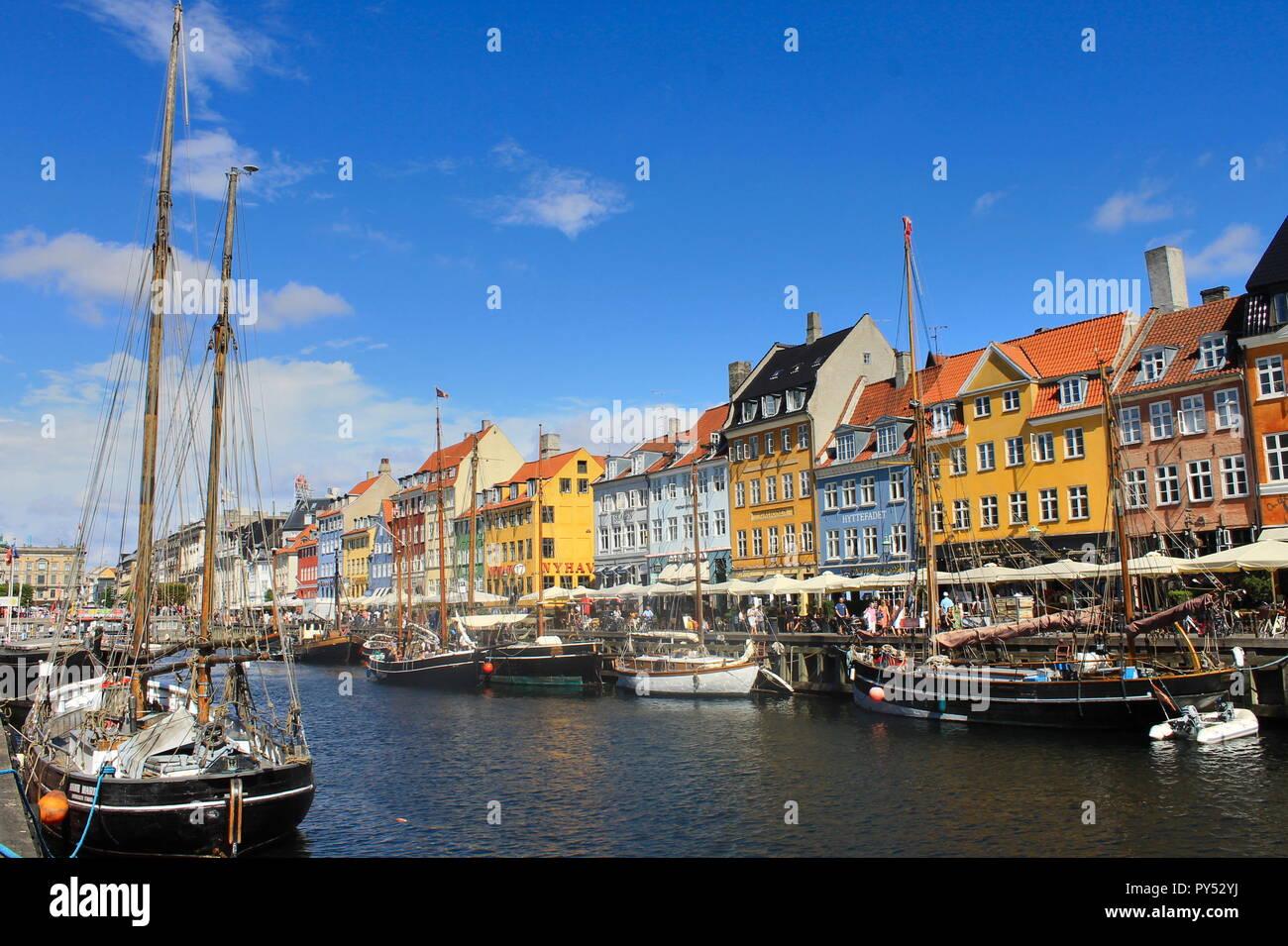 Nyhavn port in Copenhagen - Stock Image