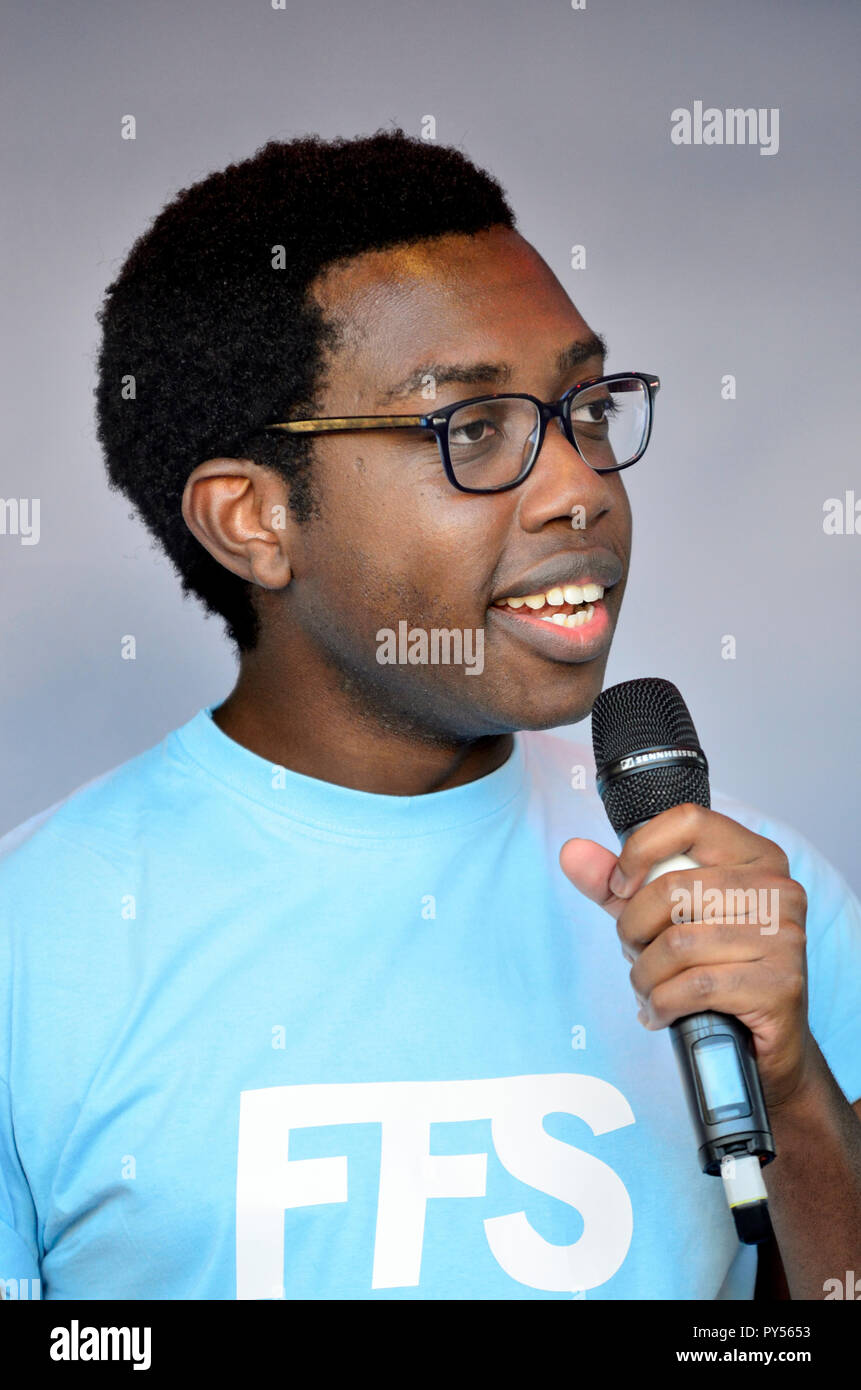 Amatey Doku - Vice President for Higher Education at the National Union of Students - speaking at the People's Vote March in support of a second Brexi - Stock Image