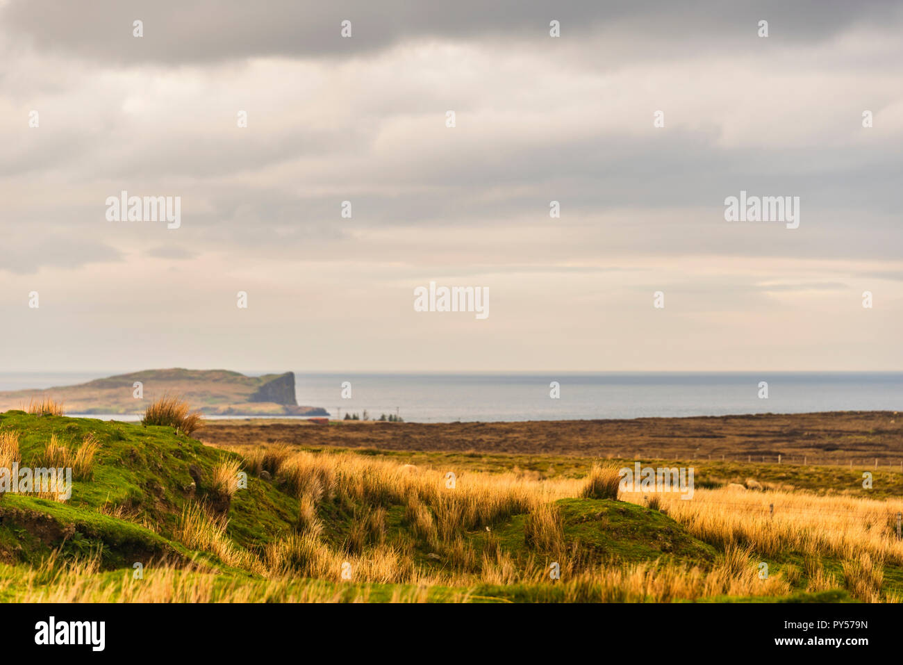 countryside landscape around Staffin in the north of the Isle of Skye, Scotland - Stock Image