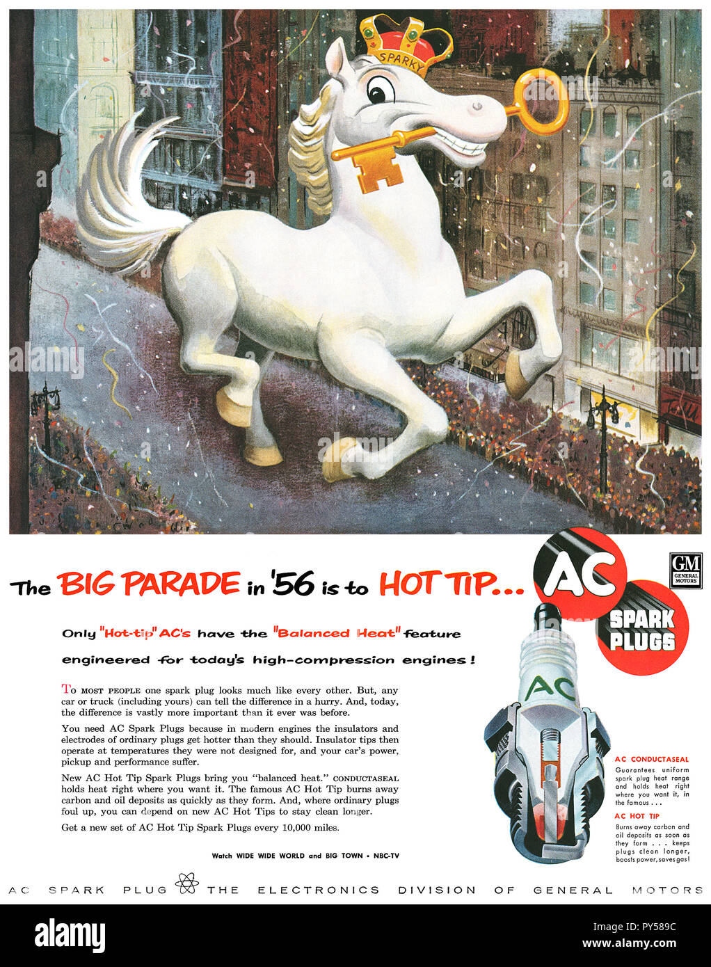 1956 U.S. advertisement for AC spark plugs. - Stock Image