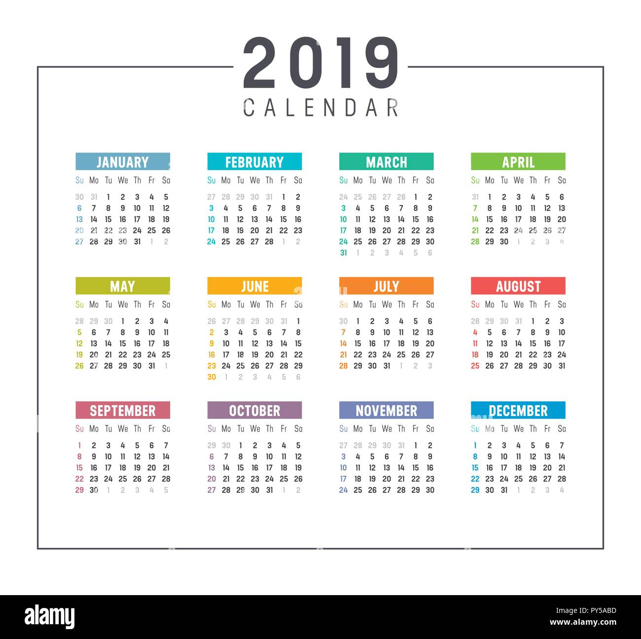 Colorful Year 2019 Simple Calendar Vector Template On White