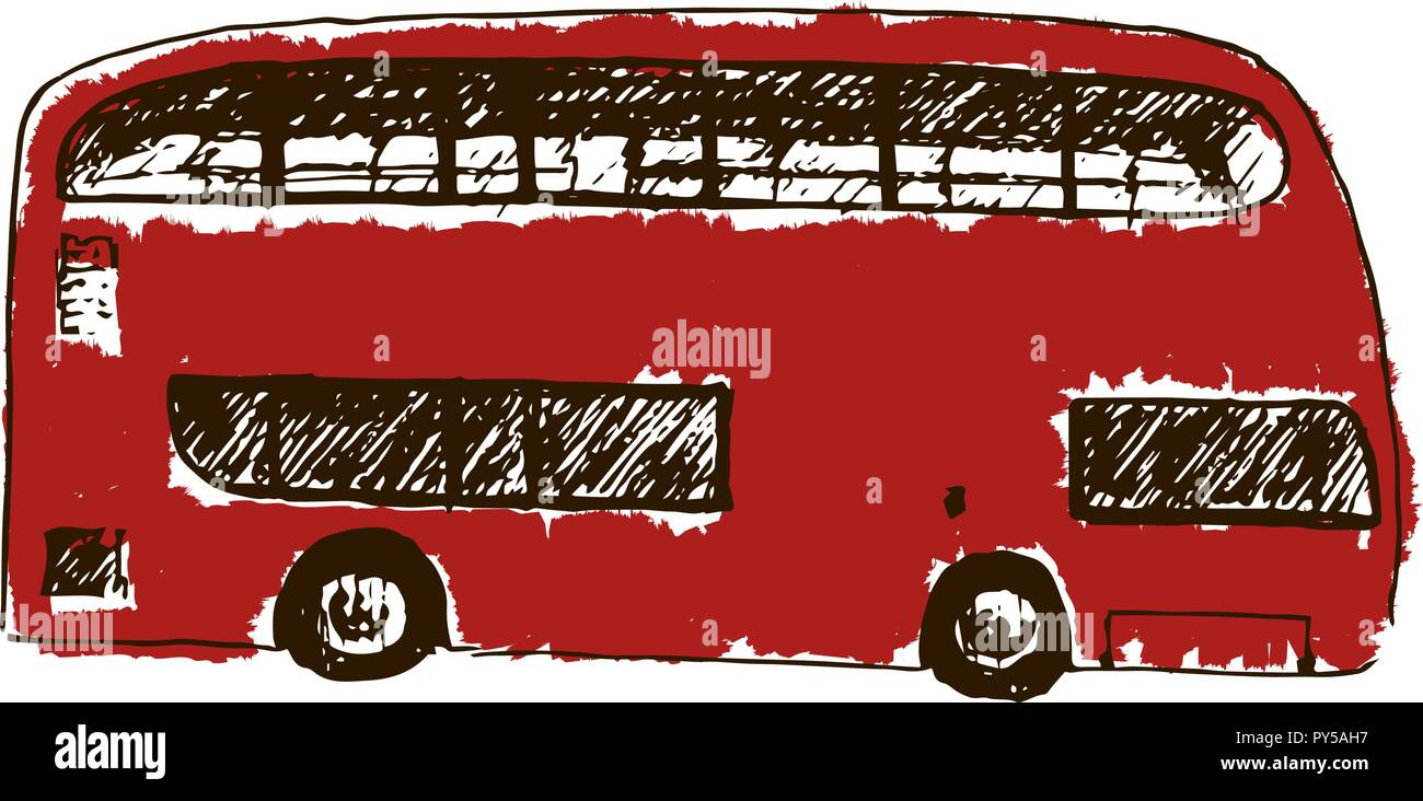 A bright red traditional London bus isolated. Sketch style ink pen. Concept idea for logo, tag, banner, advertising, prints, wrapping, decoration, pac - Stock Image