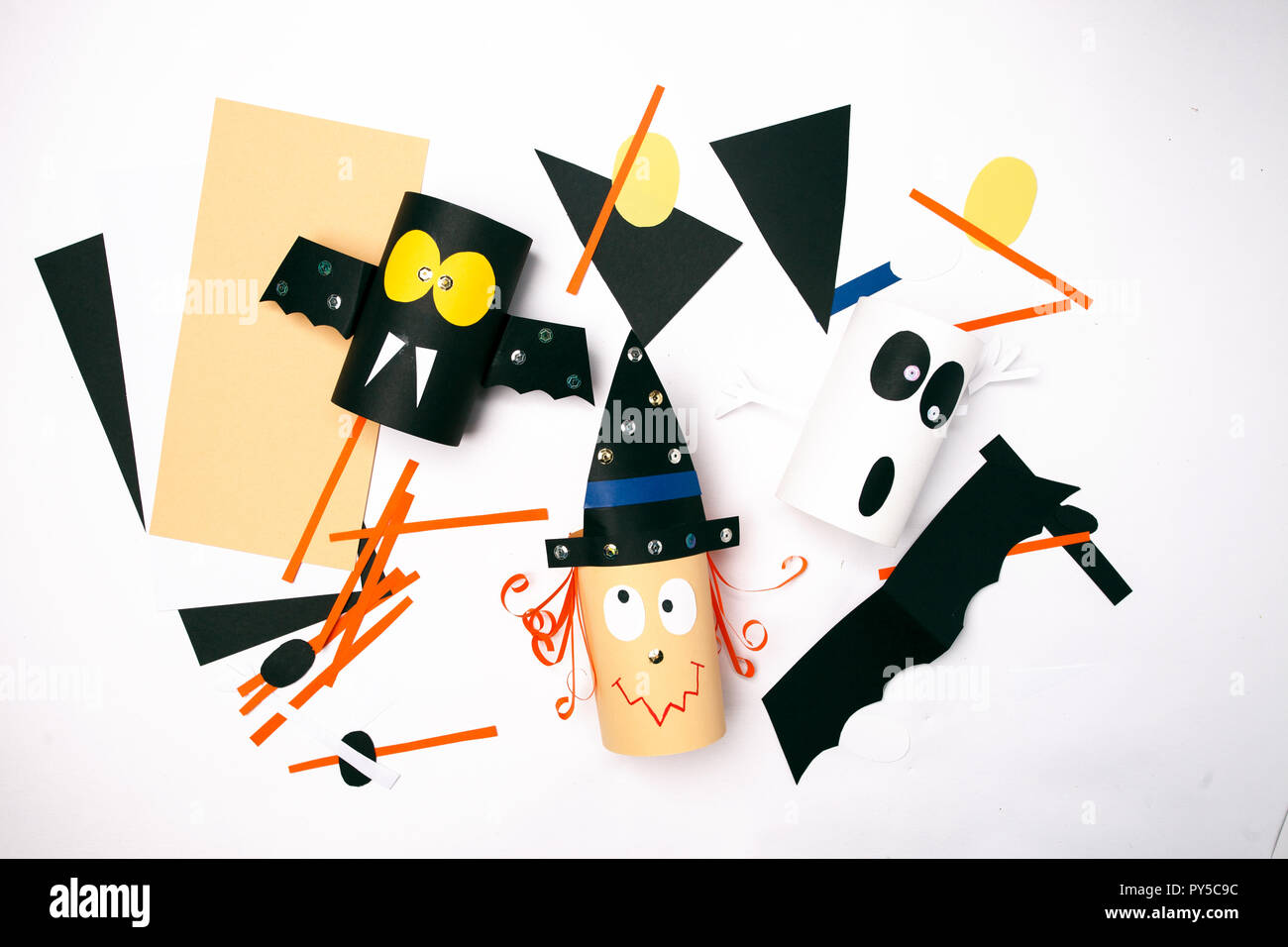 Halloween Witch Ghost Bat From Paper On White Background Creative Diy For Kids Home Decor Idea For Party Work In Progress Stock Photo Alamy