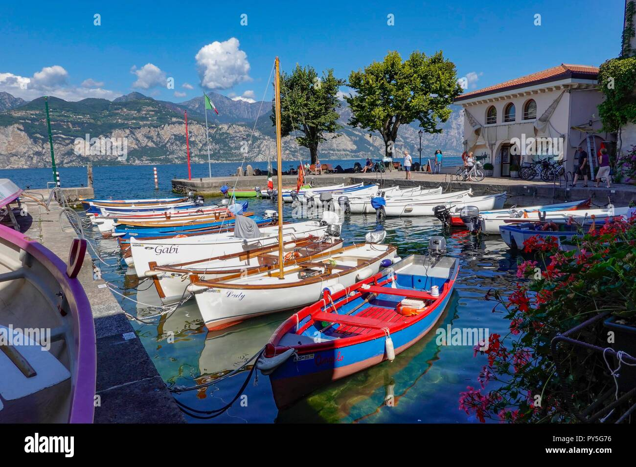 Cassone, Garda Lake, Italy. Cassone is one of the less visited beautiful small fishing villages at Lake Garda Stock Photo