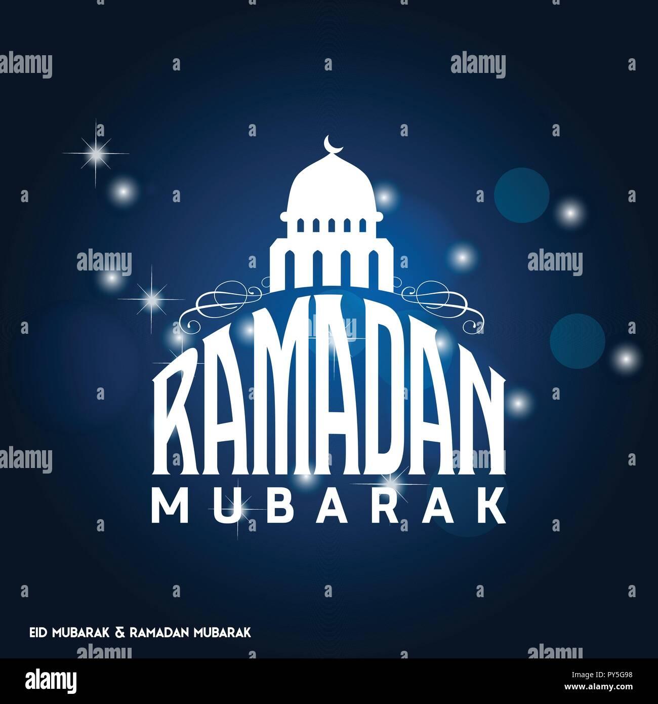 Ramadan Mubarak Simple Typography With Moon On Dark Blue Background Stock Vector Image Art Alamy