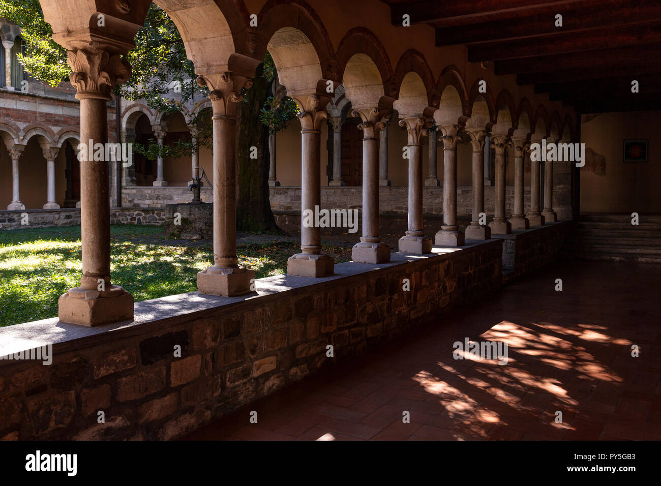 Cloisters in the monastary of Santa Maria di Piona on Lake Como, Italy Stock Photo