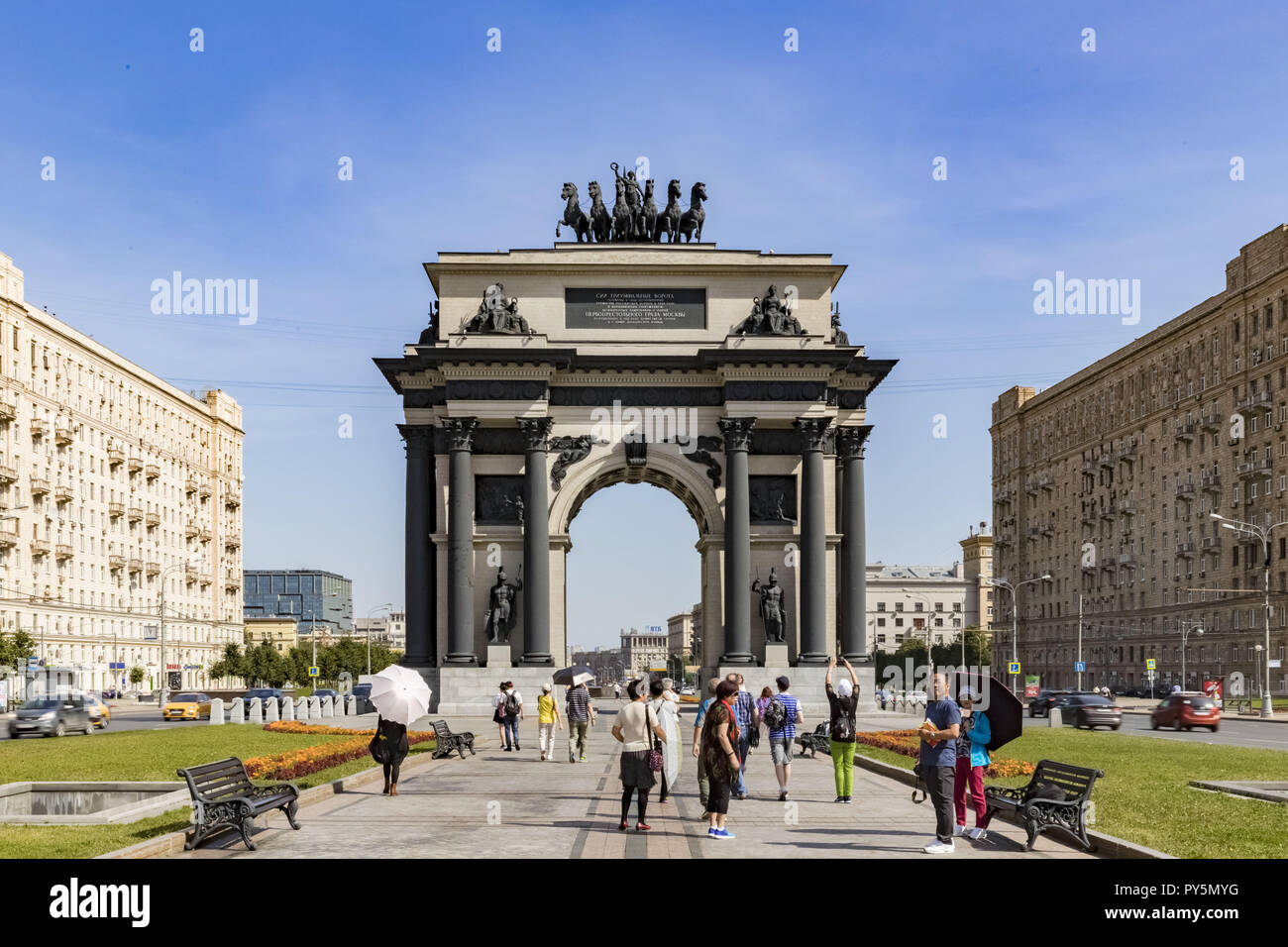 """Moscow, Moscow, Russia. 26th Aug, 2018. Moscow Triumphal Gates (Triumphal arch) ''"""" a triumphal arch in Moscow. Are for the first time built in 1829 ''"""" 1834 on the project of the architect O.I. Bowe at Tverskaya Zastava Square in honor of defeat of troops of Napoleon and a victory of the Russian people in Patriotic war of 1812. Are sorted in 1936. The copy of gate is built in 1966 ''"""" 1968 on V.Ya. Libson's project on Kutuzovsky Avenue, nowadays ''"""" Victory Squares Credit: Alexey Bychkov/ZUMA Wire/Alamy Live News - Stock Image"""
