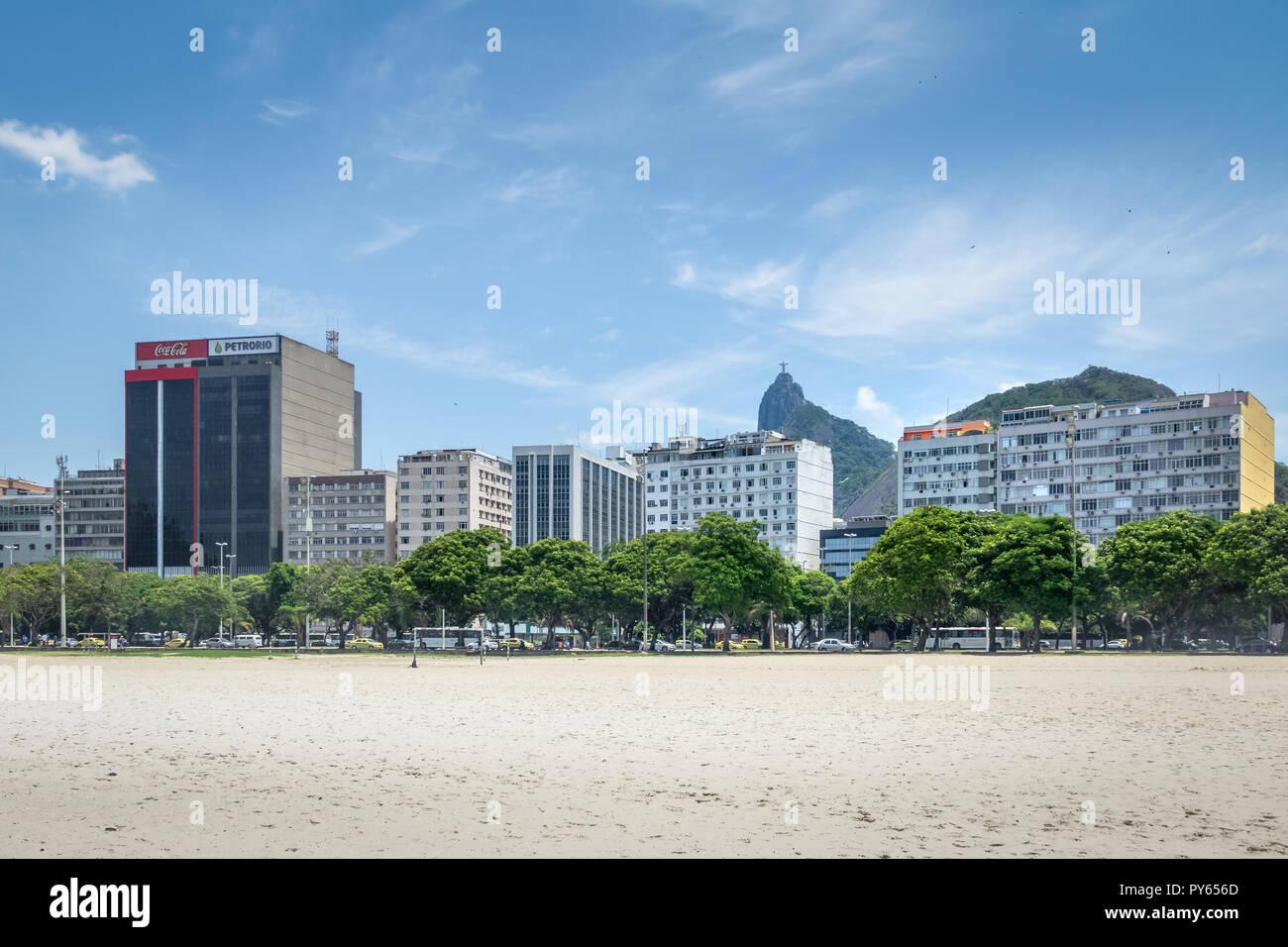 Botafogo skyline with Corcovado mountain and Christ on background - Rio de Janeiro, Brazil Stock Photo
