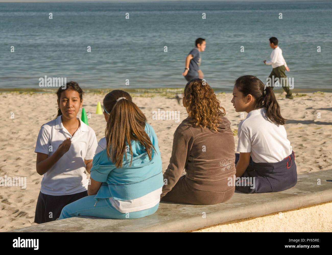 Girls at Malecon in La Paz, Baja California Sur, Mexico - Stock Image