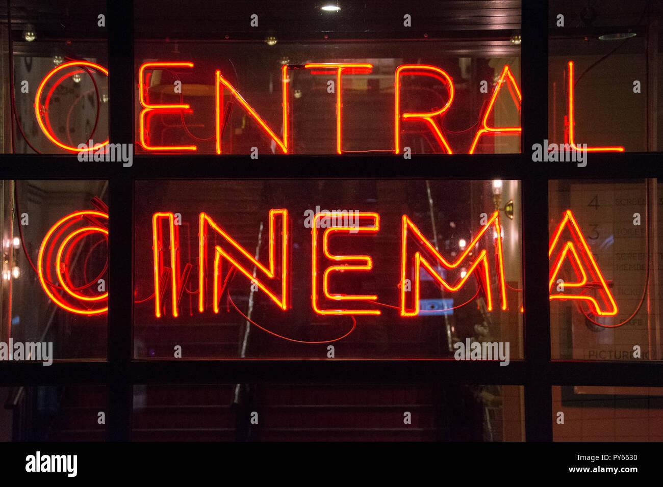 Neon lights outside Picturehouse Cental Cinema in Soho, London, UK - Stock Image