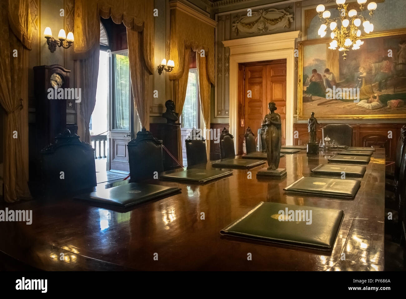 Catete Palace Ministerial room, the former presidential palace now houses the Republic Museum - Rio de Janeiro, Brazil - Stock Image