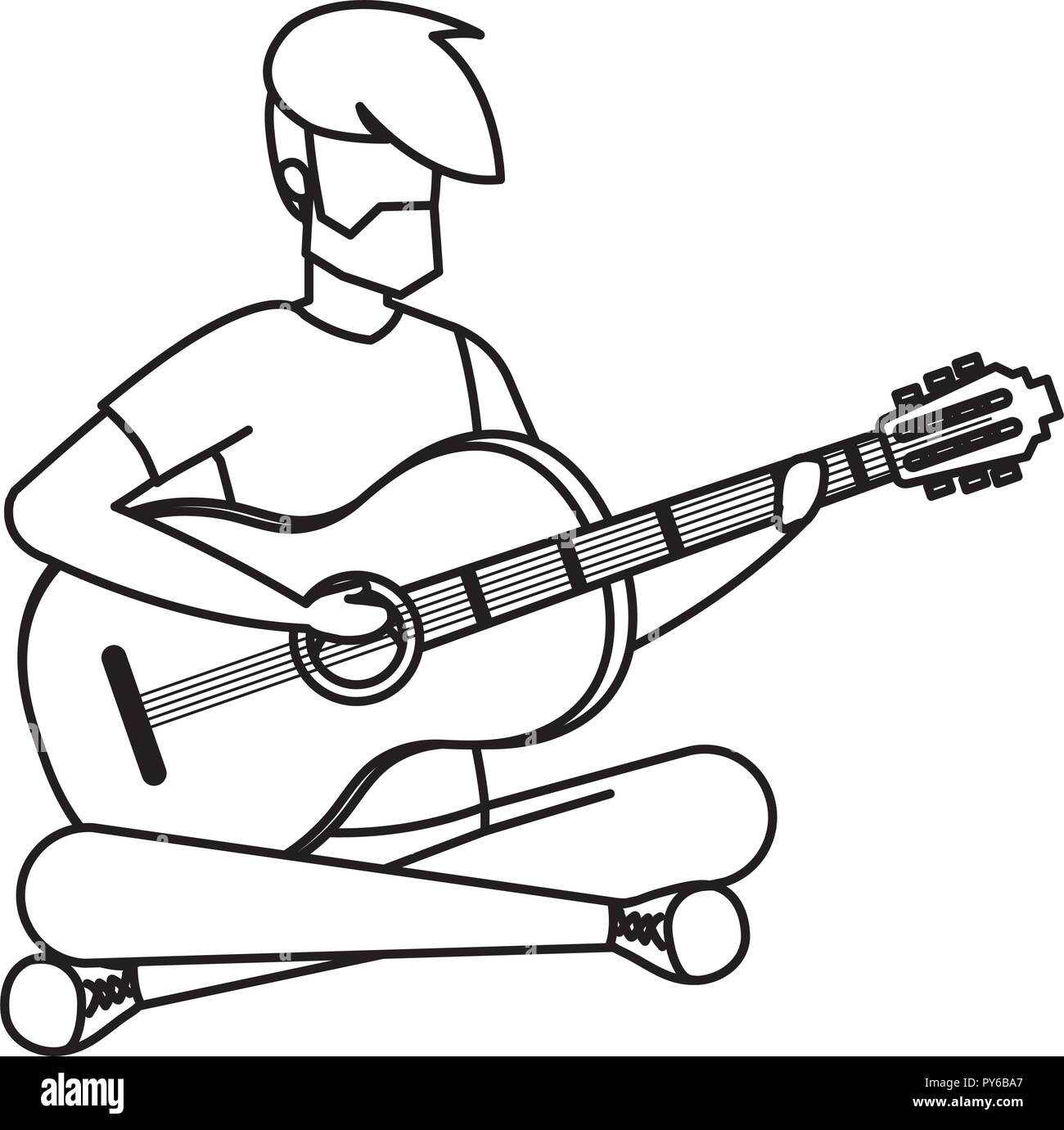 Man Playing Acoustic Guitar Vector Illustration Design Stock Vector
