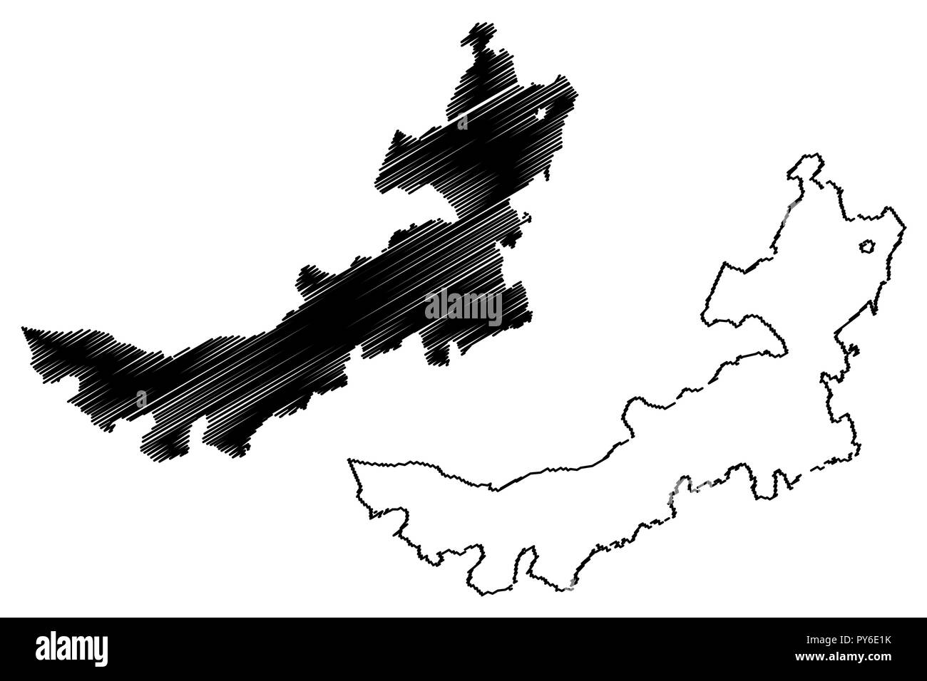 Nei Mongol Autonomous Region (Administrative divisions of China, China, People's Republic of China, PRC) map vector illustration, scribble sketch Inne - Stock Vector