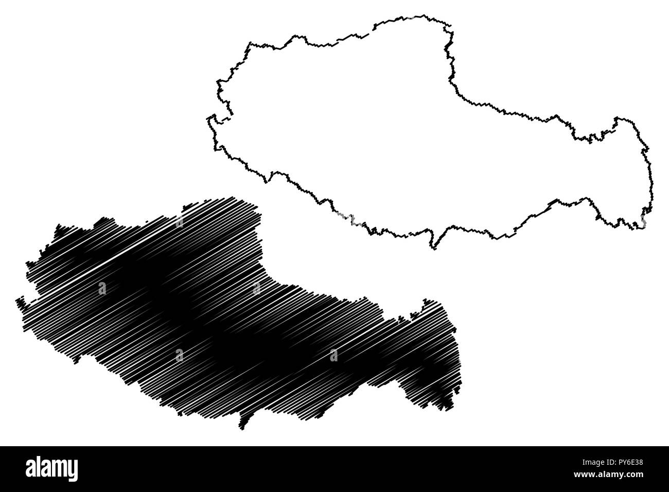 Tibet Autonomous Region (Administrative divisions of China, China, People's Republic of China, PRC) map vector illustration, scribble sketch Xizang Au - Stock Vector