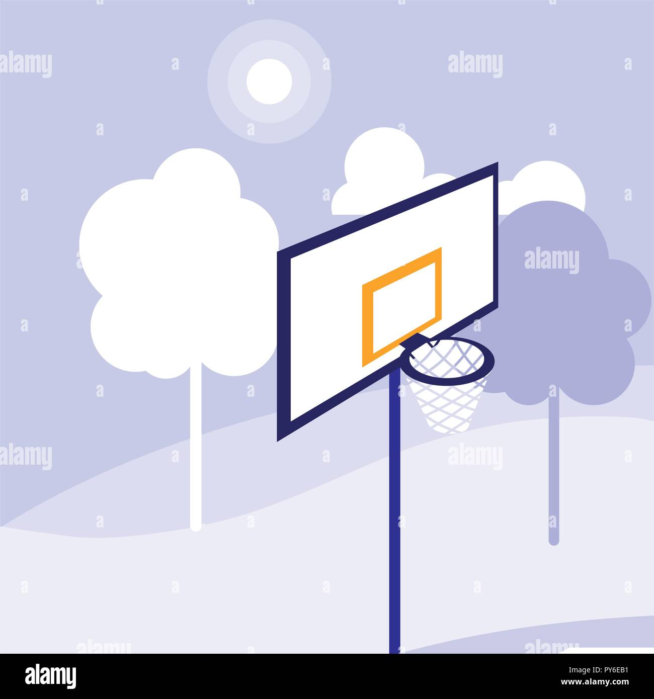 Basketball Hoop Icon Over Trees And Purple Background Vector Diagram Illustration