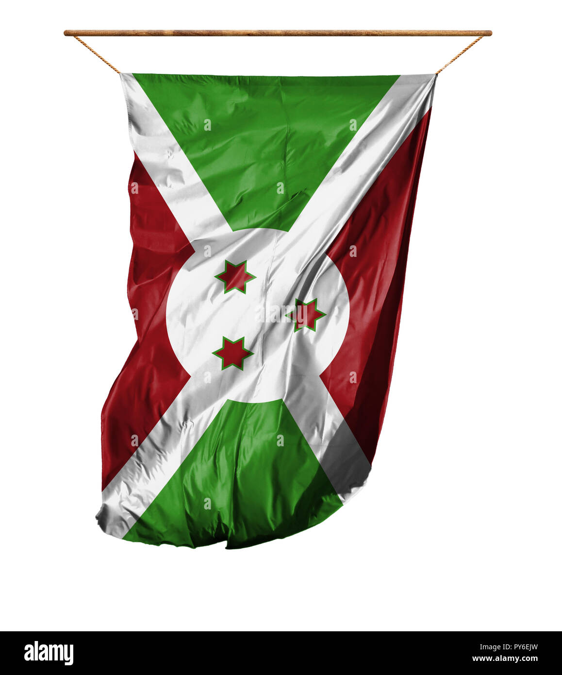Flag of Burundi. Vertical flag.Isolated on a white background. Stock Photo