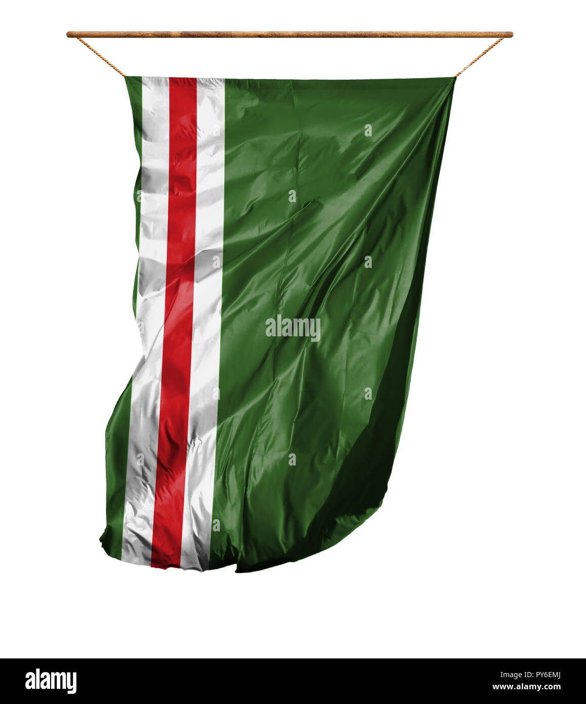 Flag of Chechen Republic of Ichkeria. Vertical flag.Isolated on a white background. - Stock Image