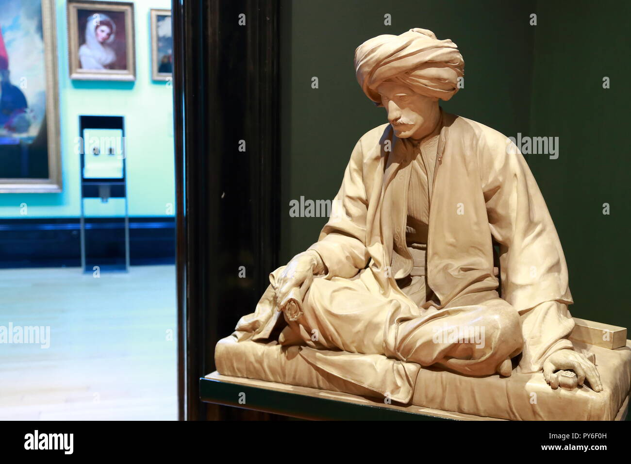 A sculpture by Richard James Lane depicting Edward William Lane at the National Portrait Gallary, London, UK - Stock Image