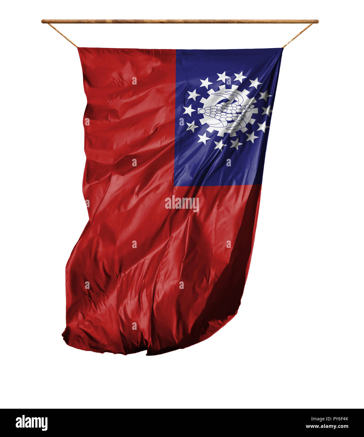 Flag of Myanmar-Burma. Vertical flag.Isolated on a white background. - Stock Image