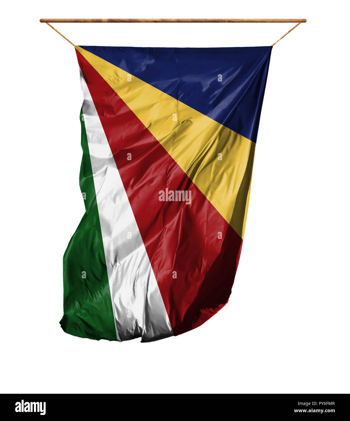 Flag of Seychelles. Vertical flag.Isolated on a white background. - Stock Image