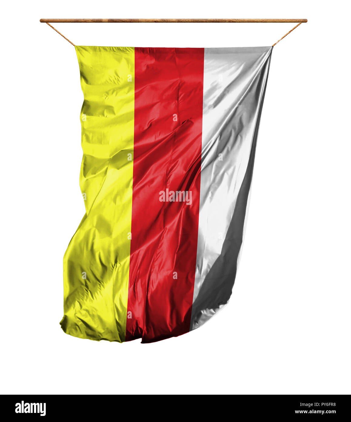 Flag of South Ossetia. Vertical flag.Isolated on a white background. - Stock Image