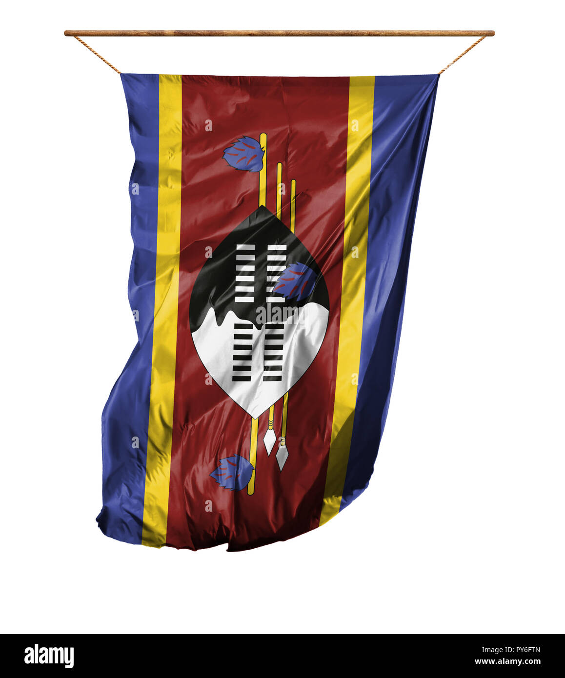 Flag of Swaziland. Vertical flag.Isolated on a white background. Stock Photo