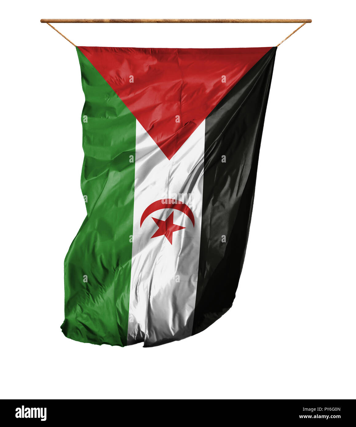Flag of Western Sahara. Vertical flag.Isolated on a white background. Stock Photo