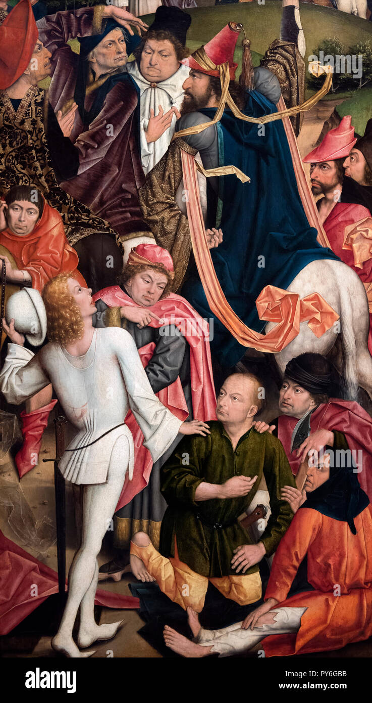 Knights and Soldiers playing Dice for Christ's Robe by Derick Baegert, oil on panel, c.1477/8 - Stock Image