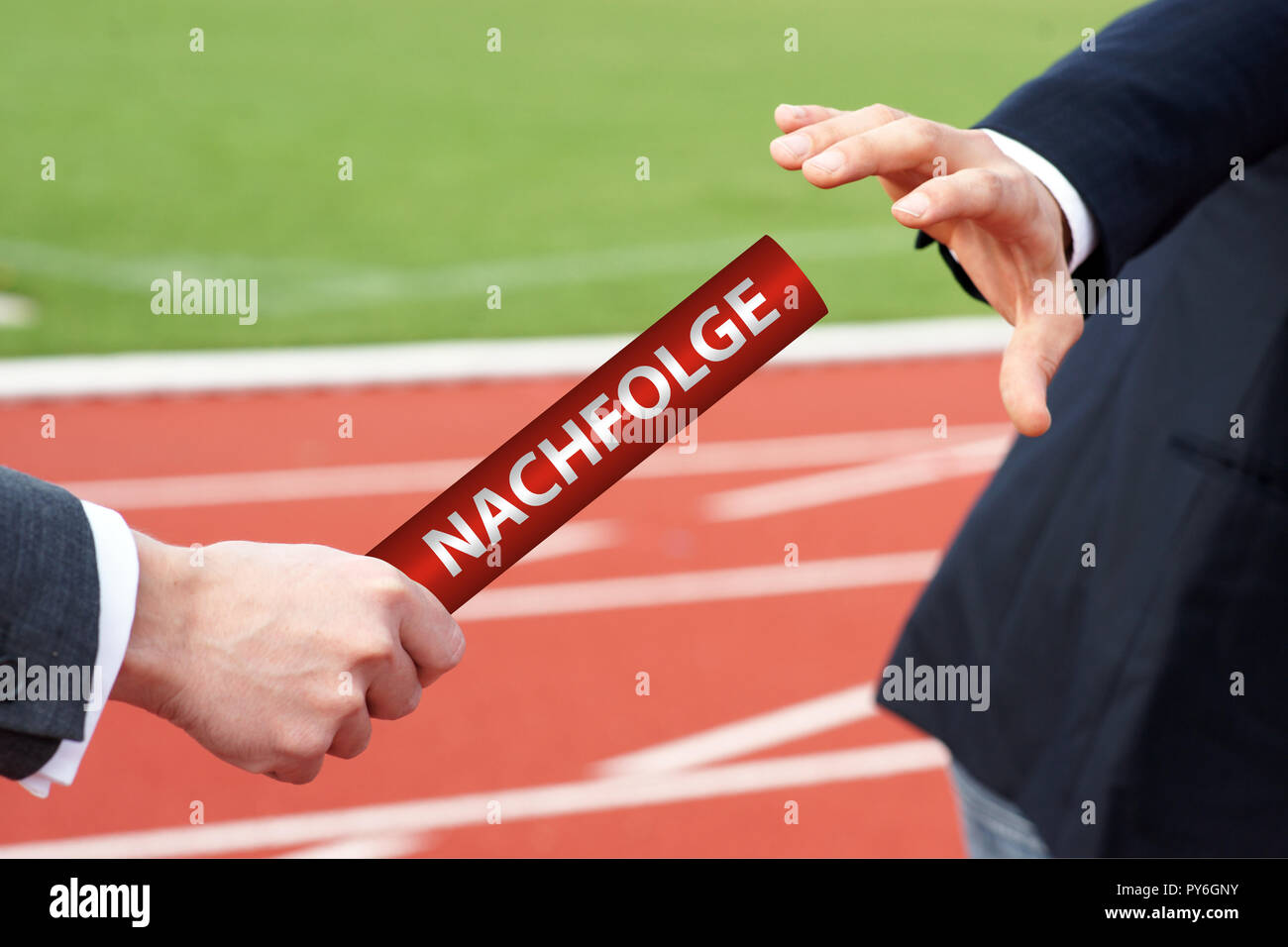 Businessmen passing red baton with german word - Nachfolge - Stock Image