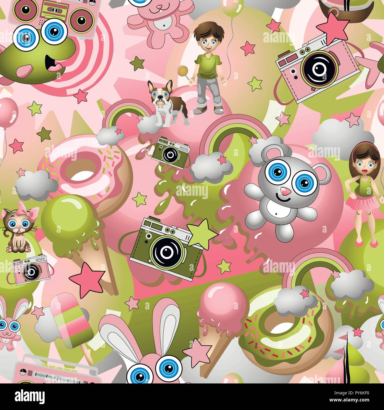 Seamless Pattern With Childish Cartoon Style Elements Boy And Girl