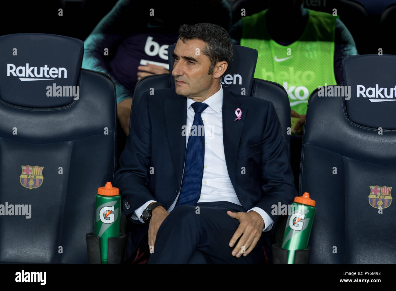 October 20th; Ernesto Valverde of FC Barcelona during the 2018/2019 LaLiga Santander Round 8 game between FC Barcelona and Sevilla FC at Camp Nou on O - Stock Image