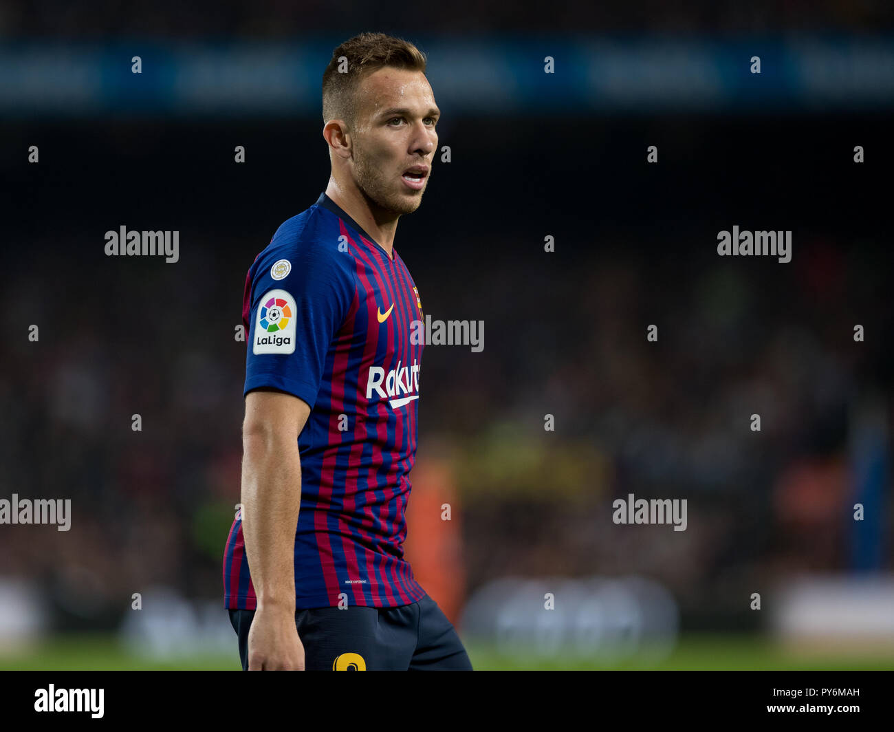 October 20th; Arthur of FC Barcelona during the 2018/2019 LaLiga Santander Round 8 game between FC Barcelona and Sevilla FC at Camp Nou on October 20, - Stock Image