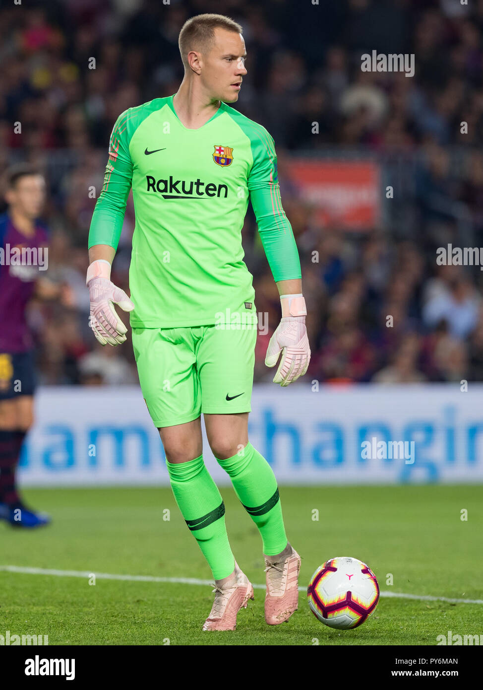 October 20th; Marc-Andre ter Stegen of FC Barcelona during the 2018/2019 LaLiga Santander Round 8 game between FC Barcelona and Sevilla FC at Camp Nou - Stock Image