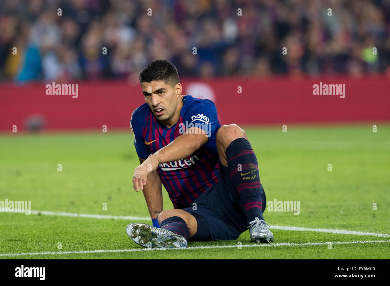 October 20th; Luis Suarez of FC Barcelona during the 2018/2019 LaLiga Santander Round 8 game between FC Barcelona and Sevilla FC at Camp Nou on Octobe - Stock Image
